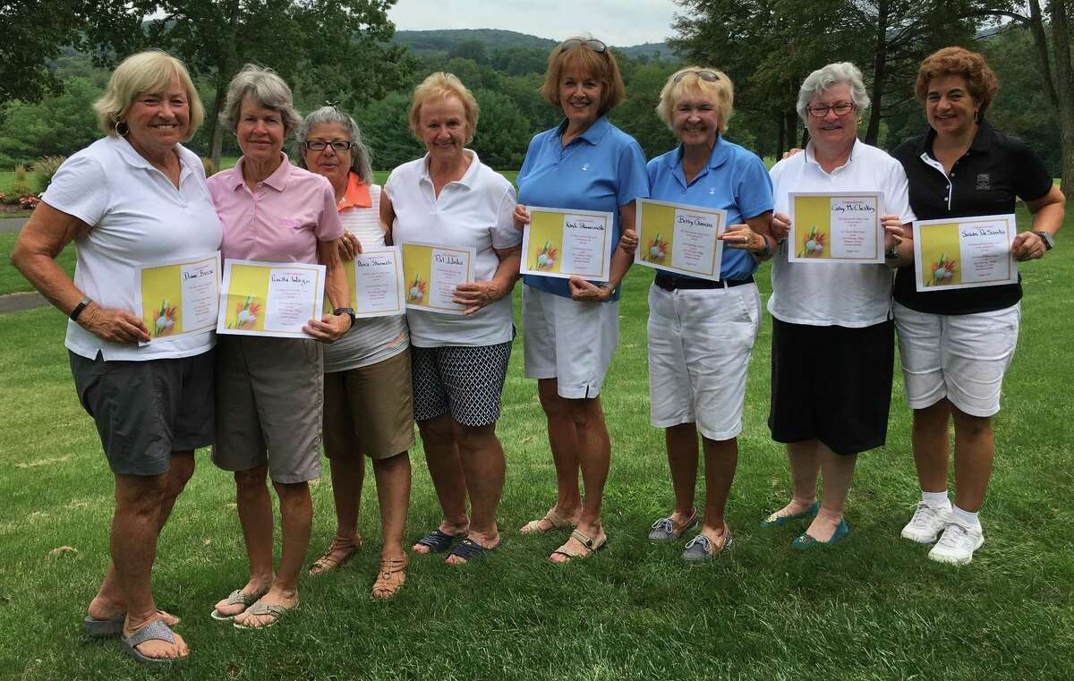The Heritage Village Country Club Women's 18-hole Golf Association recently held its member-member tournament. Pictured are, from left, first-place team members Diane Busse and Priscilla Wargo; second-place team members Aura Showah and Pat Llodra; third-place team members Kandi Skowronski and Betty Guman; and fourth-place team members Cathy McCloskey and Sue Desanto.