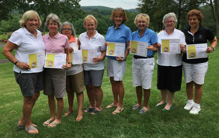 The Heritage Village Country Club Women's 18-hole Golf Association recently held its member-member tournament. Pictured are, from left, first-place team members Diane Busse and Priscilla Wargo; second-place team members Aura Showah and Pat Llodra; third-place team members Kandi Skowronski and Betty Guman; and fourth-place team members Cathy McCloskey and Sue Desanto. Photo: Contributed Photo / Contributed Photo