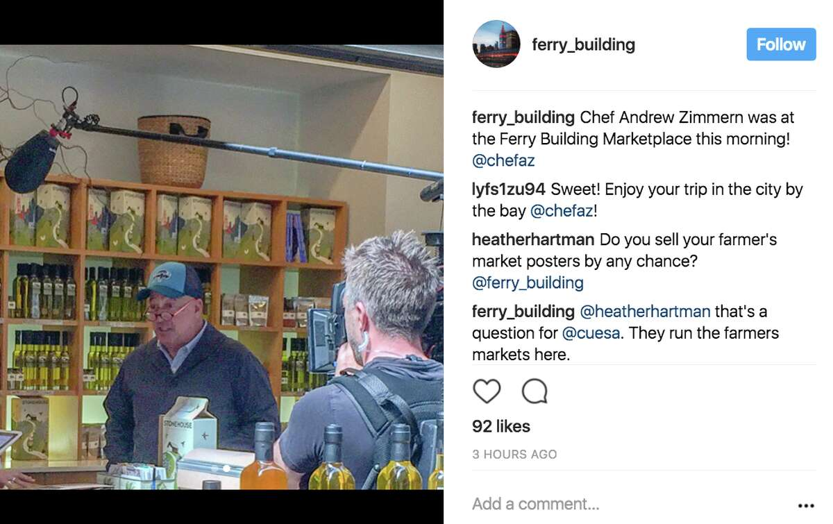 Television host Andrew Zimmern was spotted filming and eating at the Ferry Building in San Francisco on Aug. 18, 2017.