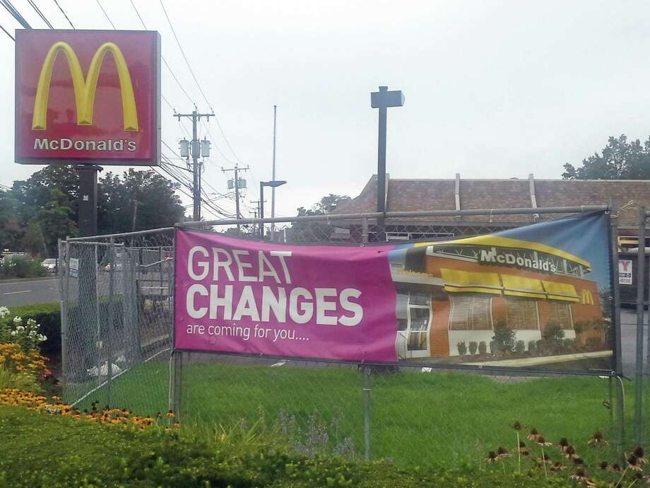repairs are under way at McDonalds in Riverside. Photo: Ken Borsuk