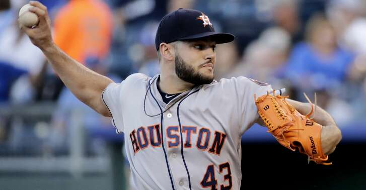 Houston Astros starting pitcher Lance McCullers Jr. throws during the first inning of the team's baseball game against the Kansas City Royals on Thursday, June 8, 2017, in Kansas City, Mo. (AP Photo/Charlie Riedel)