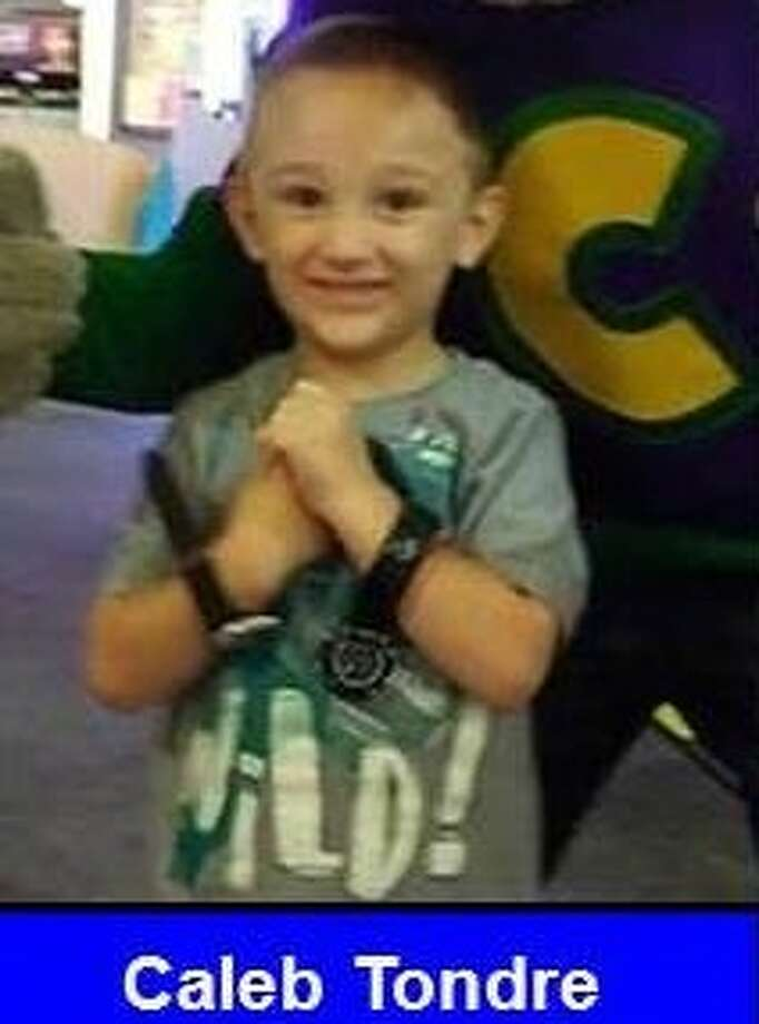 The Midland County Sheriff's Office is searching for missing Caleb Tondre , a 4-year-old in west Texas, according to an Amber Alert issued Friday. He was last seen wearing a lime green Gap shirt, khaki pants and red Jordan shoes.