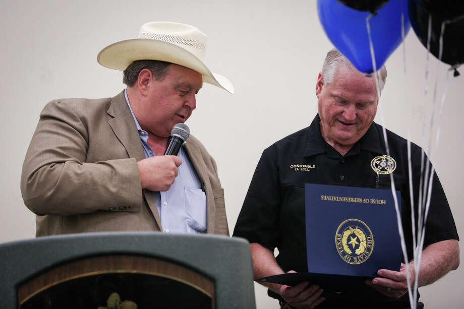 In this photo, State Rep. Cecil Bell Jr., left, speaks during a celebration of Precinct 5 Constable David Hill's 50 years in law enforcement, on Friday, Aug. 18, 2017.  Bell has exppressed disappointment in a federal court ruling that allowed a teenage girl who had entered the country illegally to have an abortion. Photo: Michael Minasi, Staff Photographer / © 2017 Houston Chronicle