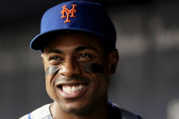 NEW YORK, NY - AUGUST 15:  Curtis Granderson #3 of the New York Mets smiles in the dugout before the game against the New York Yankees during interleague play on August 15, 2017 at Yankee Stadium in the Bronx borough of New York City.  (Photo by Elsa/Getty Images)