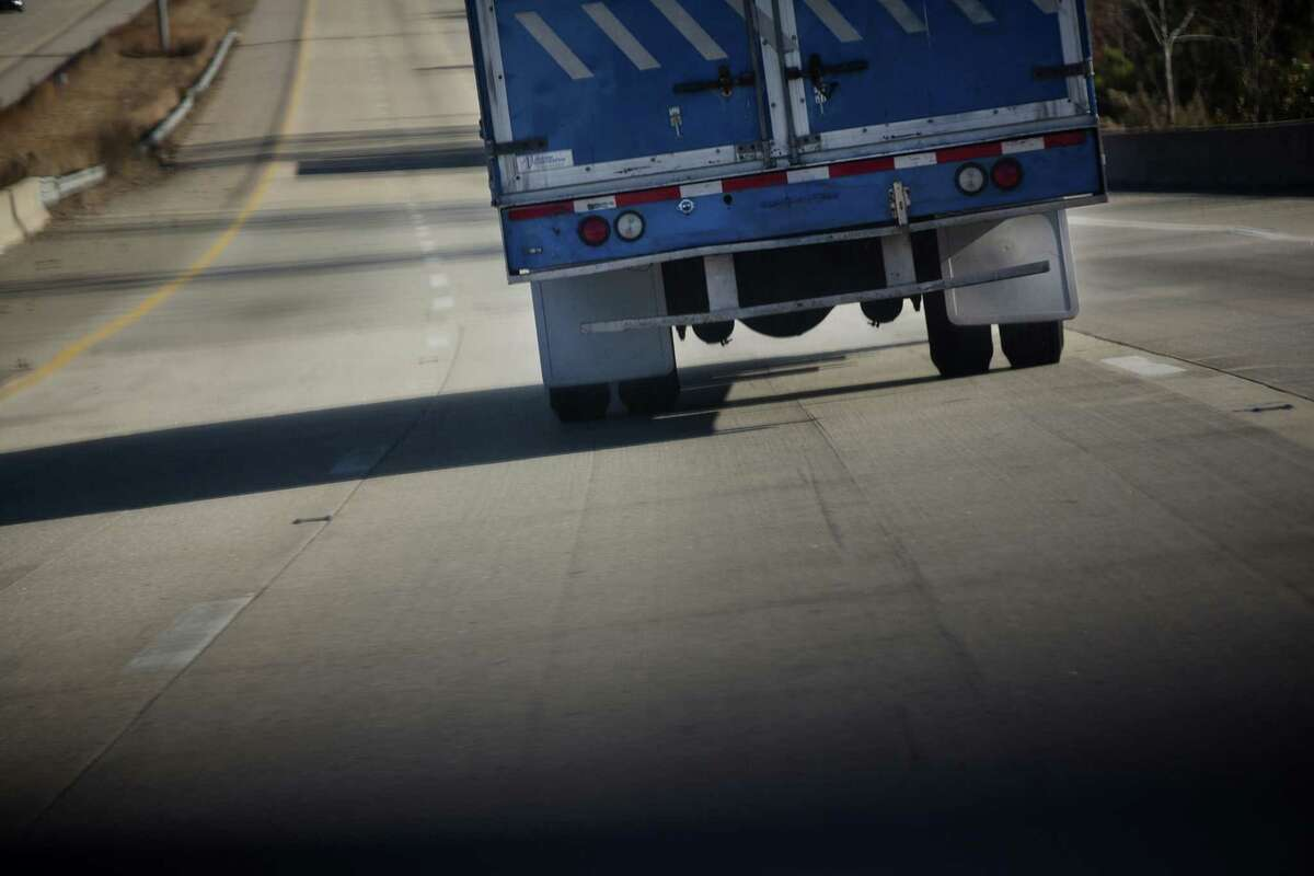 A truck moves along I-95 outside of Rocky Mount, North Carolina, on Nov. 19, 2014.