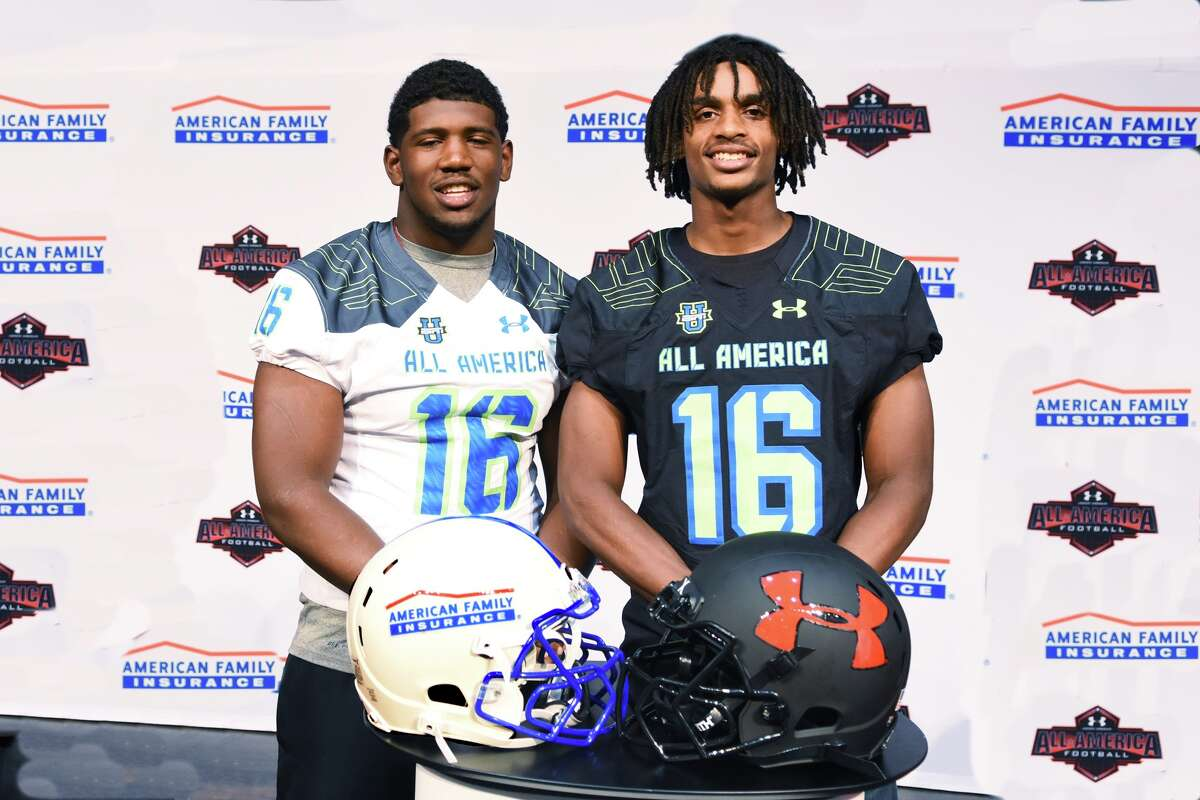 Westfield defensive lineman Ed Oliver (in white) stands alongside fellow Westfield Mustang and Under Armour All-American honoree, wide receiver Tyrie Cleveland (in black). Over the past 4 seasons, virtually every media outlet that selects an All-American squad has put Ed Oliver on it every time. Even so, the Westfield coaches who saw Oliver day-in and day-out for four-plus years are not surprised by what he's been able to accomplish.