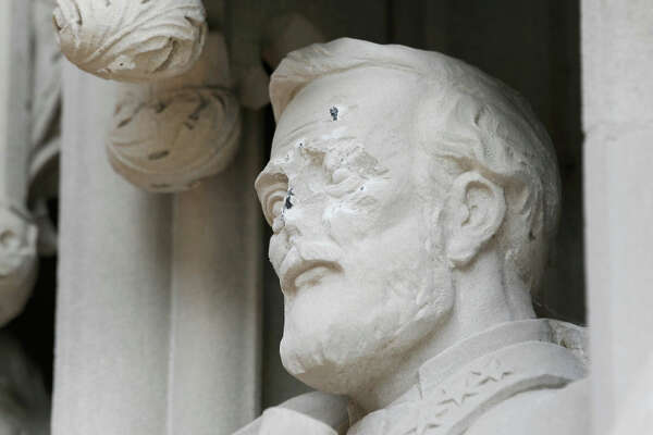 DURHAM, NC - AUGUST 17:  A statue on the portal of Duke University Chapel bearing the likeness of Confederate General Robert E. Lee was vandalizedon early August 17, 2017 in Durham, North Carolina. The statue is one of 10 historical figures adorning the exterior of the chapel; the group includes significant figures from the American South and the Protestant and Methodist traditions.  (Photo by Sara D. Davis/Getty Images)