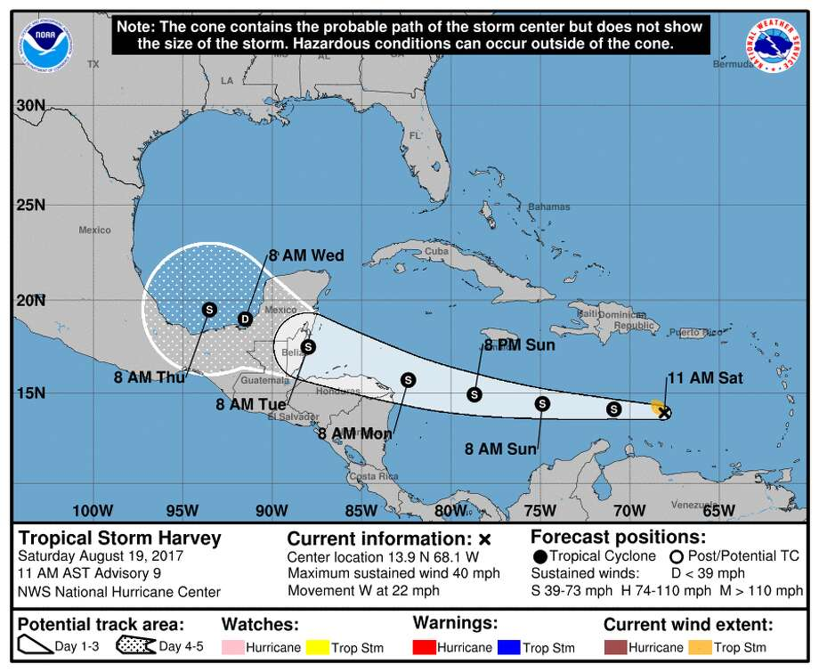 Tropical Storm Harvey is likely to cause heavy rains in Central America and the Yucatan Peninsula.>>See photos of some of the worst storms to hit the Gulf Coast. Photo: NOAA