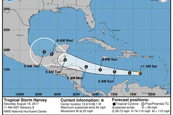 Tropical Storm Harvey is likely to cause heavy rains in Central America and the Yucatan Peninsula.