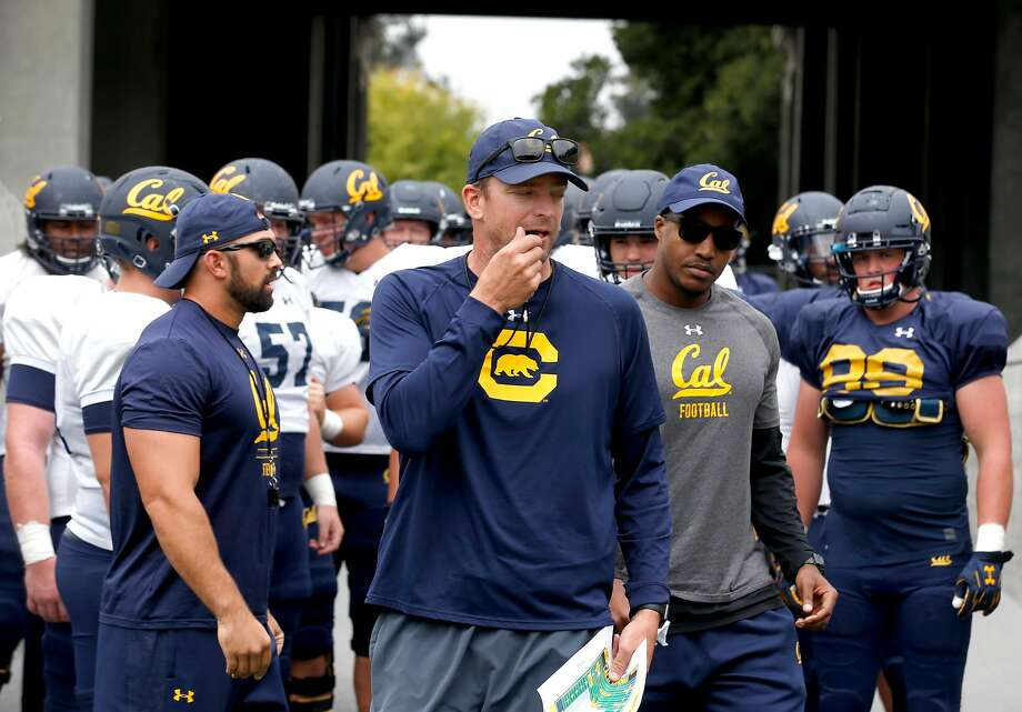 First year head coach Justin Wilcox leads the Cal Bears football team onto the field for a practice and scrimmage in Memorial Stadium at UC Berkeley on Saturday, Aug. 19, 2017. Photo: Paul Chinn, The Chronicle