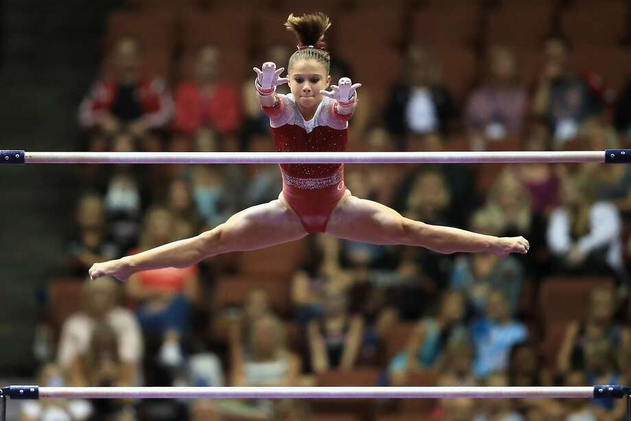 Ragan Smith competes on the Uneven Bars during the U.S. Gymnastics Championships in Anaheim on Friday night. Photo: Sean M. Haffey, Getty Images