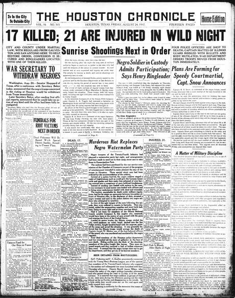 The Houston Chronicle's front page on Aug. 24, 1917.  / Houston Chronicle microfilm