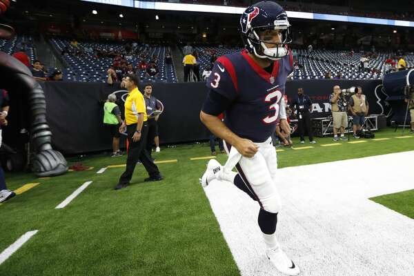 Houston Texans quarterback Tom Savage (3) runs onto the field to warm up before an NFL pre-season football game against the New England Patriots at NRG Stadium on Saturday, Aug. 19, 2017, in Houston. ( Brett Coomer / Houston Chronicle )