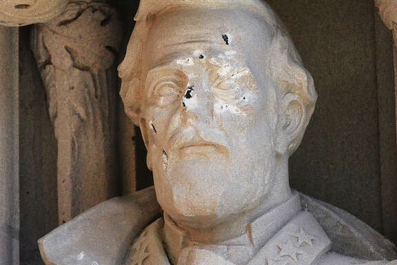 The Gen. Robert E. Lee statue stood at the entryway to Duke Chapel in Durham, N.C.  It was vandalized  19 days before the university had it removed.