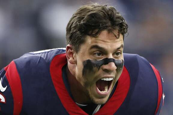 Houston Texans inside linebacker Brian Cushing (56) makes a face to someone on the sideline on the field before the start of an NFL preseason game at NRG Stadium, Saturday, Aug. 19, 2017, in Houston.  ( Karen Warren / Houston Chronicle )