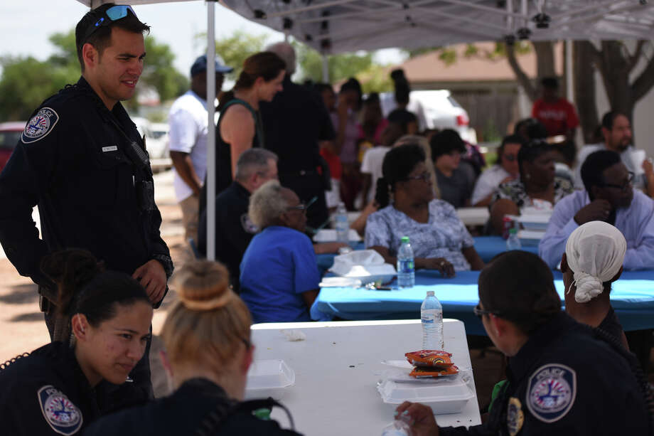 Community barbeque event recognizing police officers and distributing school supplies to children Aug. 19, 2017, at the Mount Moriah Disciples of Christ church. James Durbin/Reporter-Telegram Photo: James Durbin