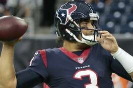 Houston Texans quarterback Tom Savage throws a pass before an NFL pre-season football game against the New England Patriots at NRG Stadium on Saturday, Aug. 19, 2017, in Houston. ( Brett Coomer / Houston Chronicle )