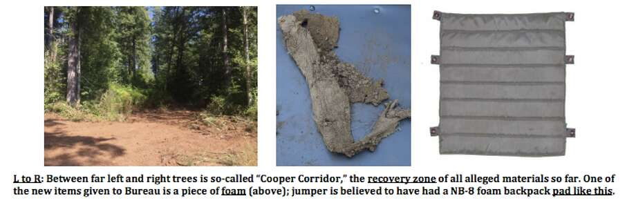 These photos show the site and the pieces that Tom Colbert's team found recently, believed to be part of D.B. Cooper's parachute. Photo: Tom Colbert