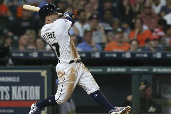 Houston Astros second baseman Jose Altuve (27) hits a double during the bottom fifth inning of the game at Minute Maid Park Saturday, Aug. 19, 2017, in Houston. ( Yi-Chin Lee / Houston Chronicle )