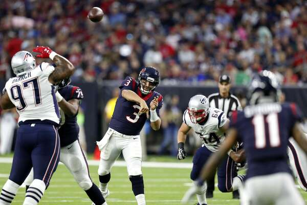Houston Texans quarterback Tom Savage (3) throws a pass over New England Patriots defensive end Alan Branch (97) to wide receiver Jaelen Strong (11) during the first quarter of an NFL pre-season football game at NRG Stadium on Saturday, Aug. 19, 2017, in Houston. ( Brett Coomer / Houston Chronicle )