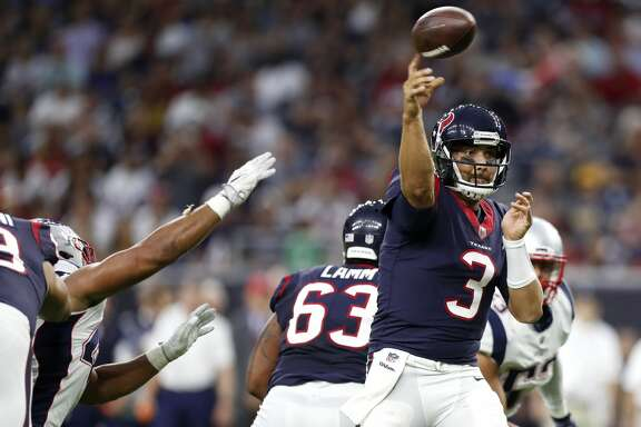 Houston Texans quarterback Tom Savage (3) throws a pass against the New England Patriots during the first quarter of an NFL pre-season football game at NRG Stadium on Saturday, Aug. 19, 2017, in Houston. ( Brett Coomer / Houston Chronicle )