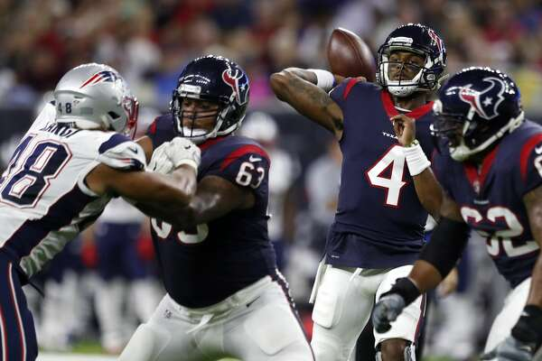 Houston Texans quarterback Deshaun Watson (4) throws a pass against the New England Patriots during the second quarter of an NFL preseason game at NRG Stadium, Saturday, Aug. 19, 2017, in Houston.  ( Karen Warren / Houston Chronicle )