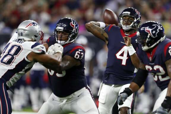 Houston Texans quarterback Deshaun Watson (4) throws a pass against the New England Patriots during the second quarter of an NFL preseason game at NRG Stadium, Saturday, Aug. 19, 2017, in Houston.  ( Karen Warren / Houston Chronicle )