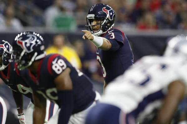 Houston Texans quarterback Tom Savage (3) calls a play at the line against the New England Patriots during the first quarter of an NFL preseason game at NRG Stadium, Saturday, Aug. 19, 2017, in Houston.  ( Karen Warren / Houston Chronicle )