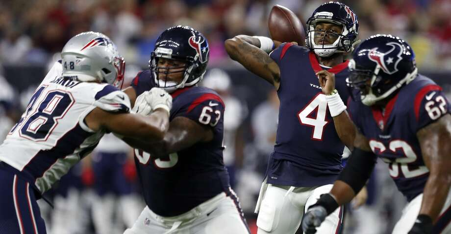 PHOTOS: Texans vs. PatriotsHouston Texans quarterback Deshaun Watson (4) throws a pass against the New England Patriots during the second quarter of an NFL preseason game at NRG Stadium, Saturday, Aug. 19, 2017, in Houston.  ( Karen Warren / Houston Chronicle )Browse through the photos to see action from the Texans' preseason game against the Patriots. Photo: Karen Warren/Houston Chronicle