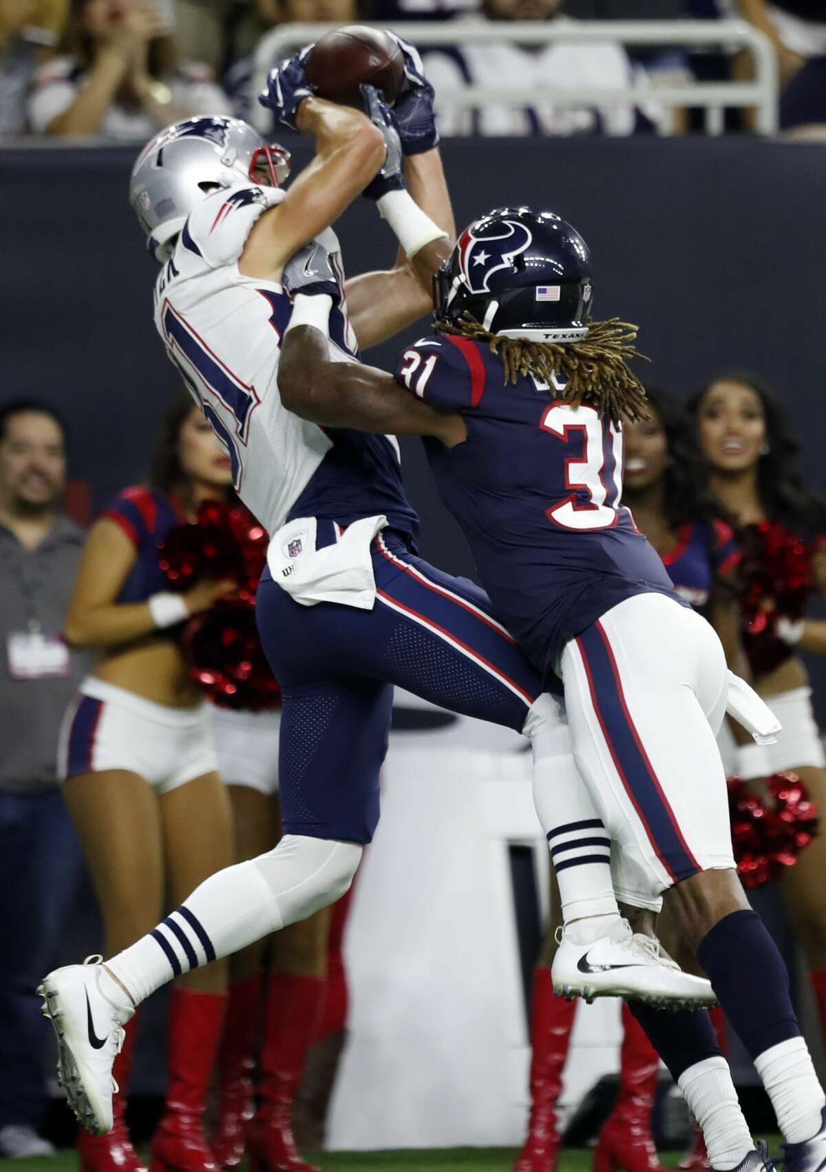 Houston Texans cornerback Treston Decoud (31) breaks up a pass in the end zone intended for New England Patriots tight end Cody Hollister (81) during the fourth quarter of an NFL preseason game at NRG Stadium, Saturday, Aug. 19, 2017, in Houston. ( Karen Warren / Houston Chronicle )