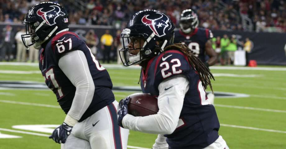Houston Texans safety Denzel Rice (22) runs along the sidelines returning an interception of a pass by New England Patriots quarterback Jimmy Garoppolo during the fourth quarter of an NFL pre-season football game at NRG Stadium on Saturday, Aug. 19, 2017, in Houston. ( Brett Coomer / Houston Chronicle ) Photo: Brett Coomer/Houston Chronicle