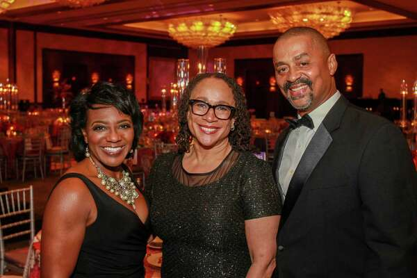Alaina Benford, from left, honoree S. Epatha Merkerson and Leo Benford at The Ensemble Theatre Gala.   (For the Chronicle/Gary Fountain, August 19, 2017)