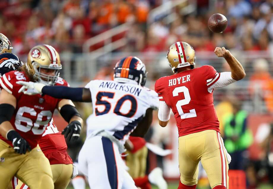 Brian Hoyer #2 of the San Francisco 49ers fumbles the ball against the Denver Broncos at Levi's Stadium on August 19, 2017 in Santa xara, California. (Photo by Ezra Shaw/Getty Images) Photo: Ezra Shaw, Getty Images