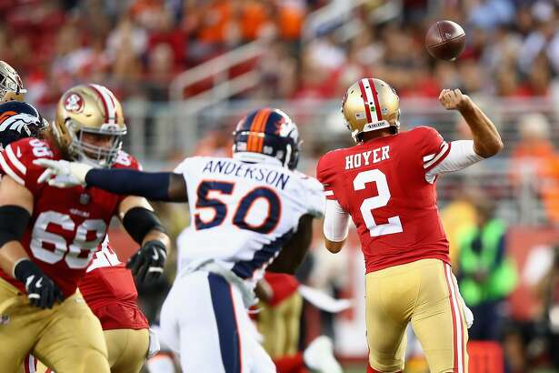 SANTA CLARA, CA - AUGUST 19:  Brian Hoyer #2 of the San Francisco 49ers fumbles the ball against the Denver Broncos at Levi's Stadium on August 19, 2017 in Santa Clara, California.  (Photo by Ezra Shaw/Getty Images)