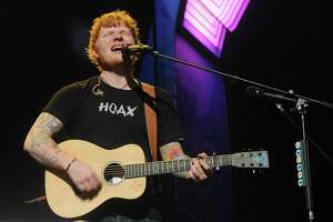 Ed Sheeran performs during the Houston stop of his Divide Tour at the Toyota Center Saturday August 19, 2017.(Dave Rossman Photo)