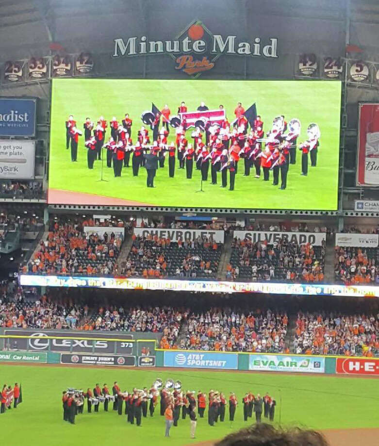 The Coldspring-Oakhurst High School Trojan Regiment Band performed the National Anthem at Houston's Minute Maid Park  to kick-off the Astros vs. the Oakland Athletics baseball game on Friday, Aug. 18. Led by COCISD Band Director Trent Graves, band members did an outstanding job of representing COHS and the entire Coldspring community. Photo: Submitted