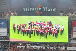 The Coldspring-Oakhurst High School Trojan Regiment Band performed the National Anthem at Houston's Minute Maid Park to kick-off the Astros vs. the Oakland Athletics baseball game on Friday, Aug. 18. Led by COCISD Band Director Trent Graves, band members did an outstanding job of representing COHS and the entire Coldspring community.