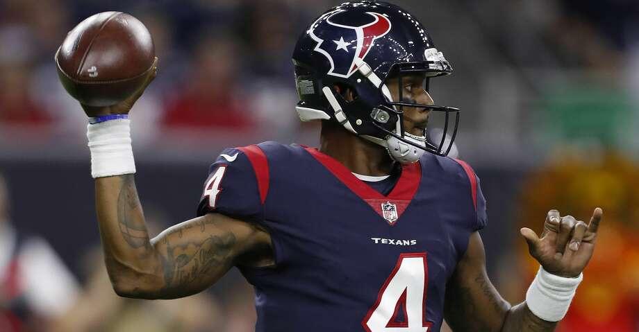 Houston Texans quarterback Deshaun Watson (4) drops back to pass during the second quarter of an NFL preseason game at NRG Stadium, Saturday, Aug. 19, 2017, in Houston.  ( Karen Warren / Houston Chronicle ) Photo: Karen Warren/Houston Chronicle