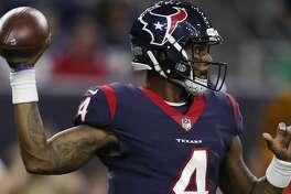 Houston Texans quarterback Deshaun Watson (4) drops back to pass during the second quarter of an NFL preseason game at NRG Stadium, Saturday, Aug. 19, 2017, in Houston.  ( Karen Warren / Houston Chronicle )