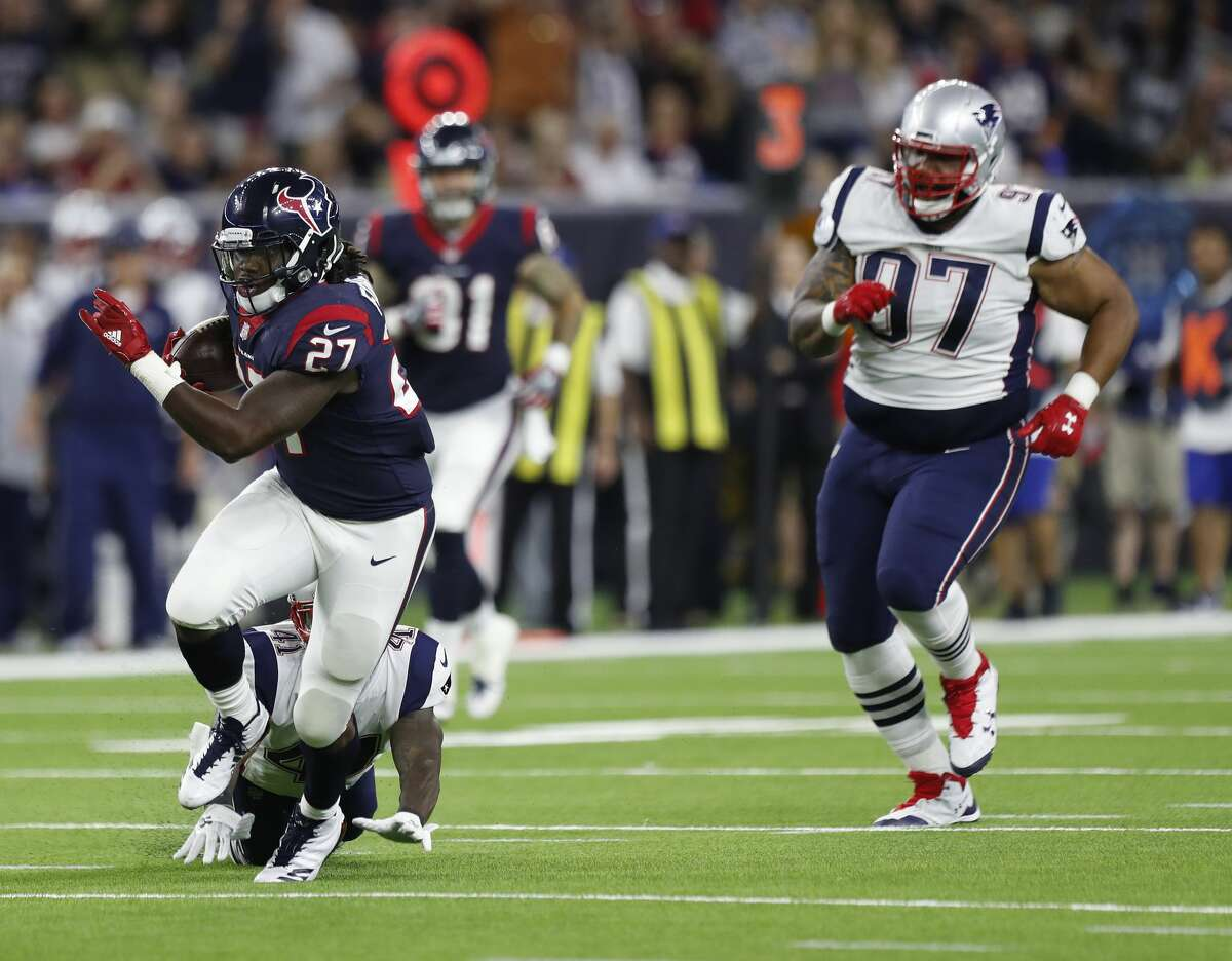 FIVE UP 2. D'Onta Foreman The Texans' rookie running back from the University of Texas is dispelling the notion that he can't be a good receiver out of the backfield. That was a frequent knock on the third-round draft pick from Texas City coming out of his time with the Longhorns. It's proving to be inaccurate, though. Foreman caught a short pass and rumbled 63 yards. He finished with two receptions for 66 yards and rushed for 17 yards with one touchdown.