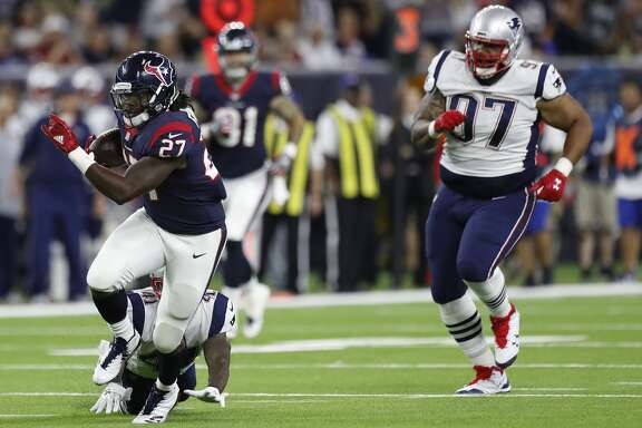 Houston Texans running back D'Onta Foreman (27) gains yardage on a run during the third quarter of an NFL preseason game at NRG Stadium, Saturday, Aug. 19, 2017, in Houston.  ( Karen Warren / Houston Chronicle )