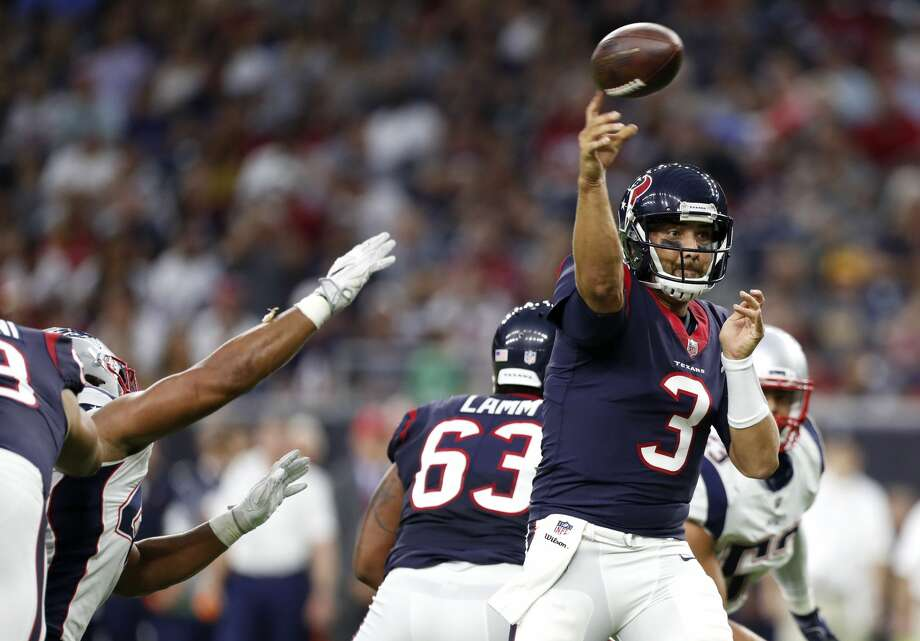 FIVE UP1. Tom SavageThe Texans' starting quarterback delivered a commanding performance that shows why he should remain the starter ahead of talented rookie Deshaun Watson. Savage made some sharp throws, and avoided some hits while absorbing others. He completed 8 of 9 passes for 67 yards, one touchdown and no interceptions for a 125.7 passer rating. Photo: Brett Coomer/Houston Chronicle