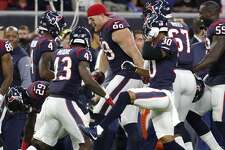 The Houston Texans bench celebrates their win over the New England Patriots in an NFL pre-season football game at NRG Stadium on Saturday, Aug. 19, 2017, in Houston. ( Brett Coomer / Houston Chronicle )