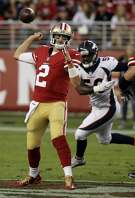 San Francisco 49ers quarterback Brian Hoyer (2) looses his grip on the ball and fumbles while trying to pass during the first half of a preseason NFL football game against the Denver Broncos Saturday, Aug. 19, 2017, in Santa Clara, Calif. (AP Photo/Eric Risberg)