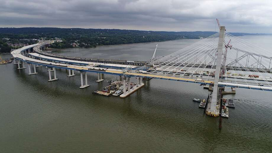 Construction continues on the New New York Bridge spanning the Hudson River as motorists make their way on the the Tappan Zee Bridge, Tuesday, July 25, 2017 near Tarrytown, N.Y. (AP Photo/Julie Jacobson) Photo: Julie Jacobson, Associated Press