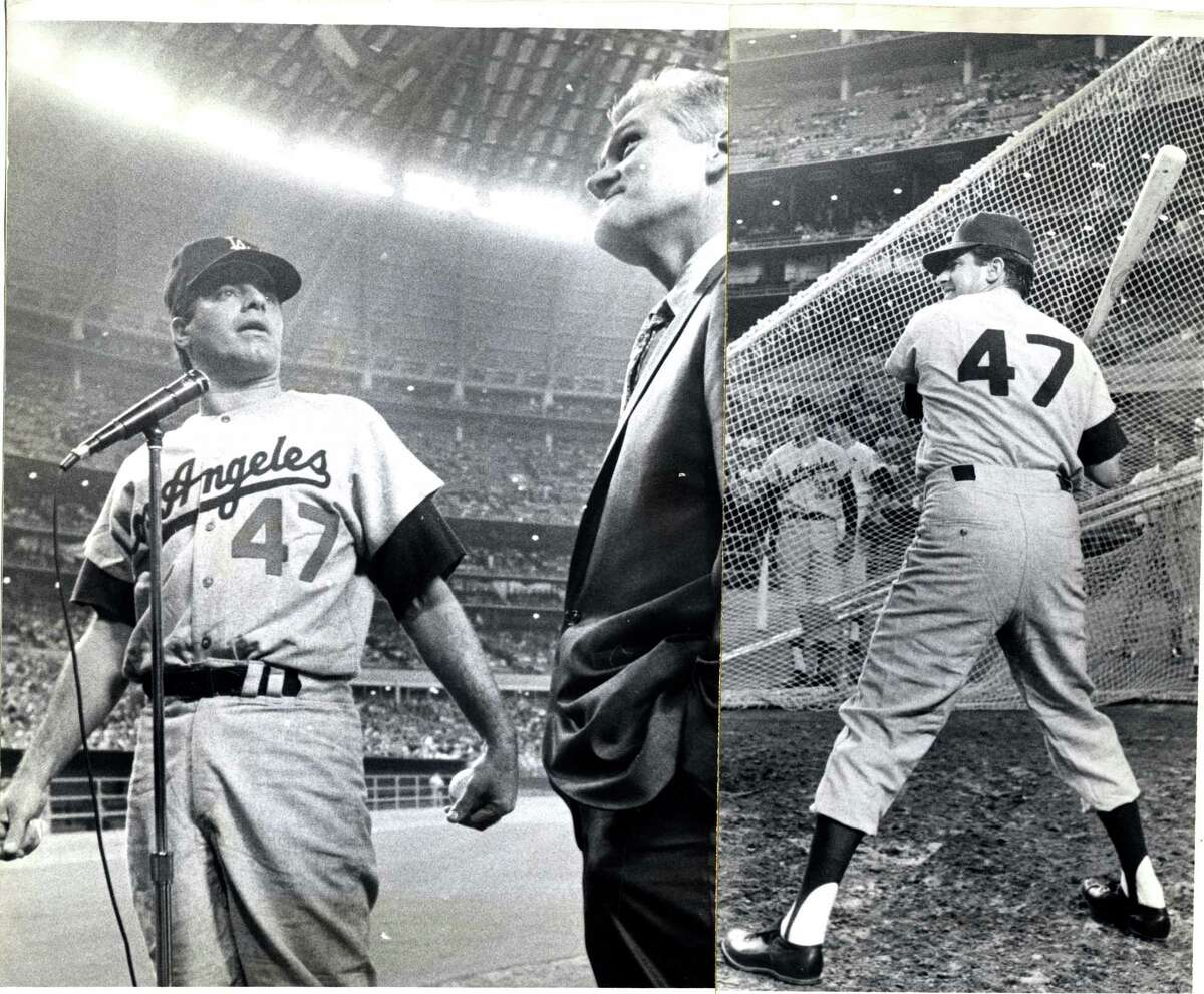 06/22/1966 - Comedian Jerry Lewis at Astrodome for Astros - Dodgers game. LEFT PHOTO: Lewis, in Dodger uniform, accepts key to city of Houston from councilman Johnny Goyen. RIGHT PHOTO: Lewis takes batting practice.