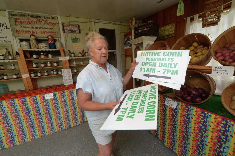 Bucciarelli Farms owner Donna Benz at her home farm on Ponus Avenue Saturday, Aug. 19, in West Norwalk. Benz has been informed that the farm's signage, located at various arterial intersections throughout West Norwalk and surrounding neighborhoods, will no longer be permitted. For more than half a century Bucciarelli Farms has built a customer based while being tucked away in the largely residential back streets of West Norwalk, but recent changes to the city's zoning regulations are threatening the farm's livelihood, the owners say. Photo: Erik Trautmann / Hearst Connecticut Media / Norwalk Hour