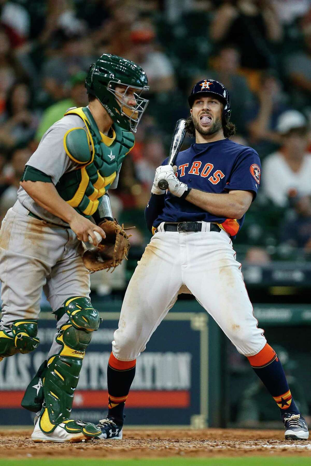 Houston Astros center fielder Jake Marisnick (6) reacts to being struck out looking as the Houston Astros lose 3-2 to the Oakland Athletics in the ninth inning at Minute Maid Park Sunday, Aug. 20, 2017 in Houston.