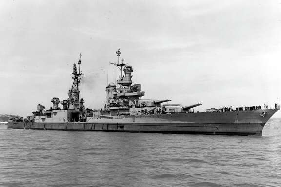 The cruiser Indianapolis is seen off Mare Island, Calif., on July 10, 1945, weeks before it was sunk by a Japanese torpedo in the Philippine Sea. Researchers have found its wreckage 18,000 feet deep in the sea.