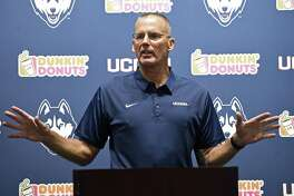 """UConn football coach Randy Edsall, shown here in a July 28 file photo, said after practice Sunday: """"The offense was bad today, just a lack of focus and concentration."""""""